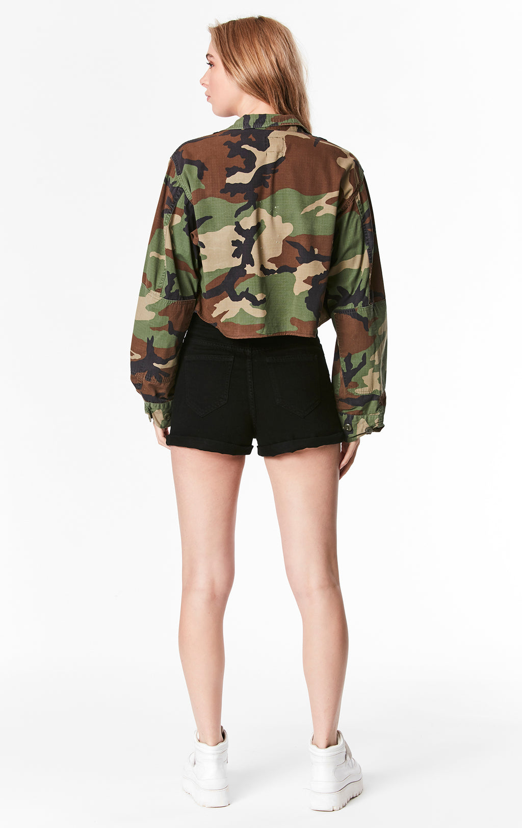 CAMO CROP JACKET WITH GROMMET TAPE