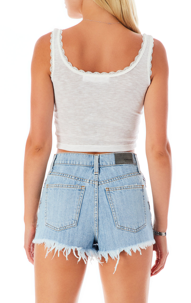 TITANIA KUNZITE STAR PATCH DENIM SHORT
