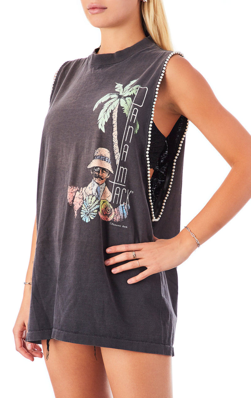VINTAGE SLEEVELESS PEARL TRIM T-SHIRT
