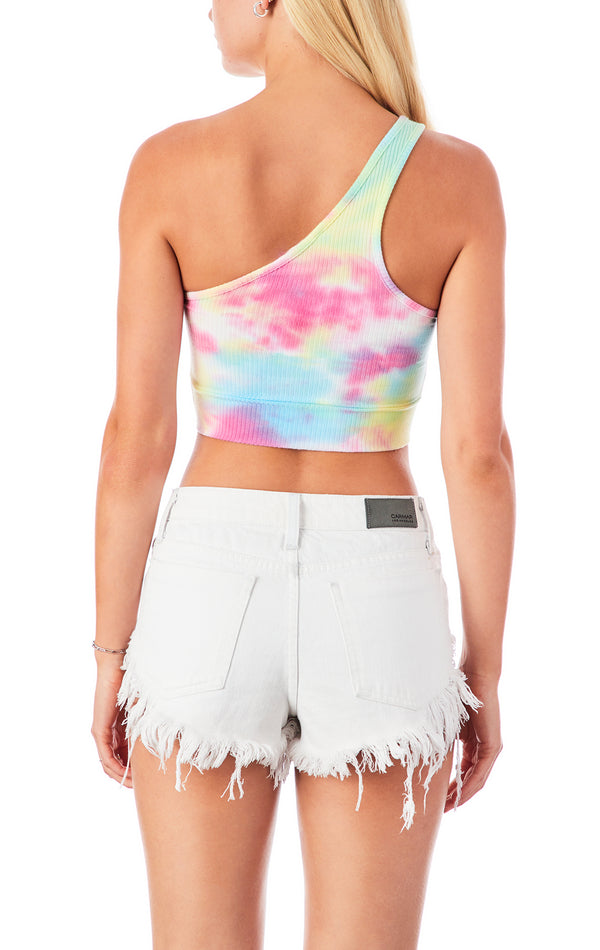 SPLOTCH TIE DYE CROP ONE SHOULDER CIRCLE CUT OUT TANK TOP