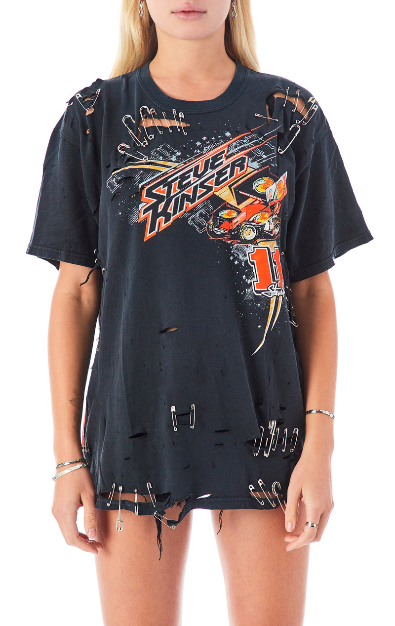 VINTAGE DISTRESSED SAFETY PIN T-SHIRT