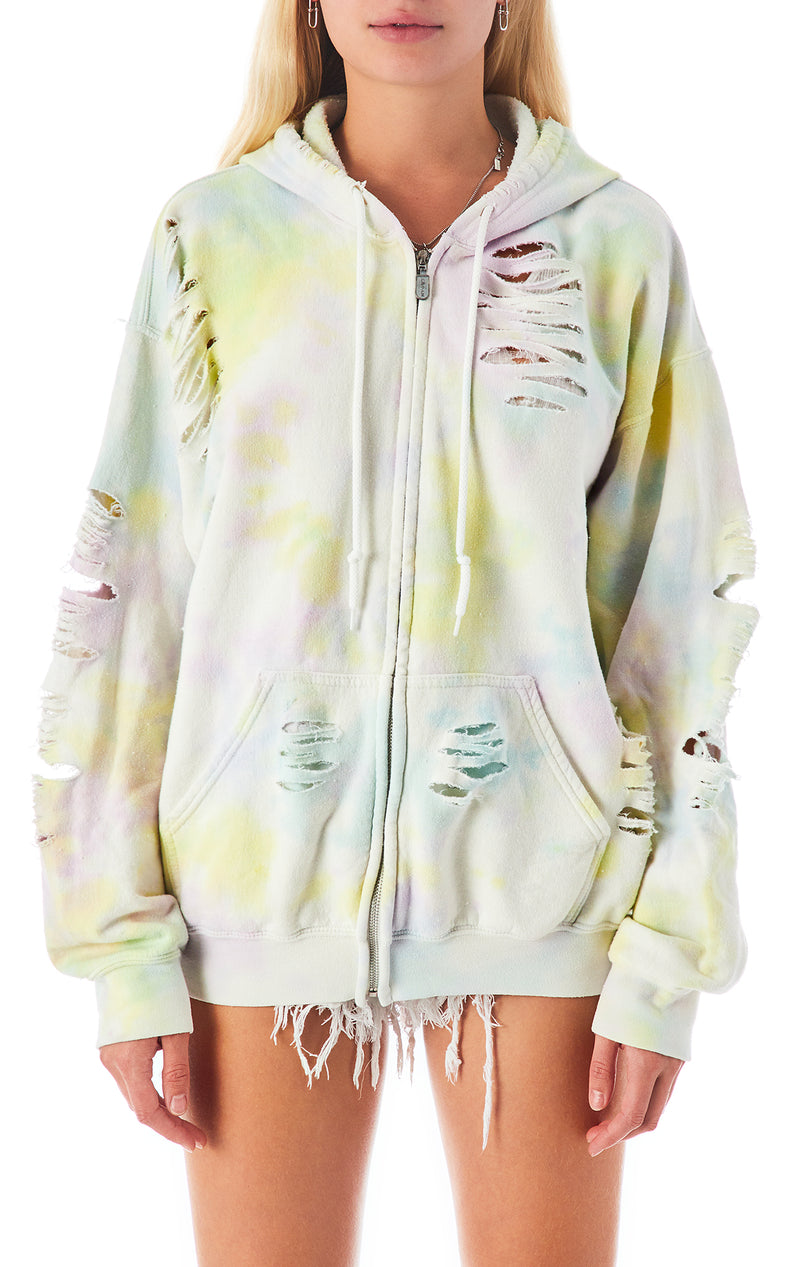 PASTEL CLOUD TIE DYE RIPPED ZIP UP SWEATSHIRT