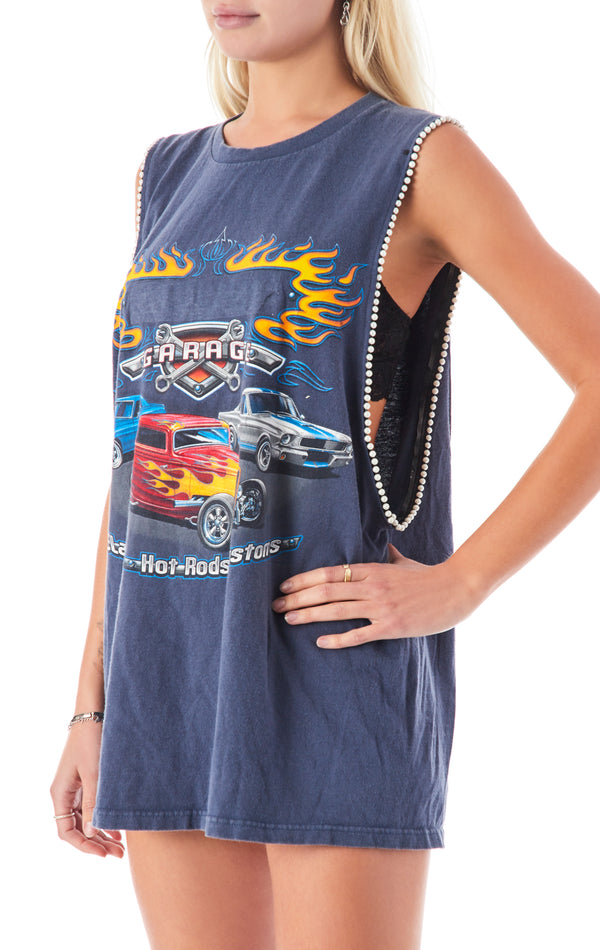 VINTAGE PEARL TRIM SLEEVELESS T-SHIRT