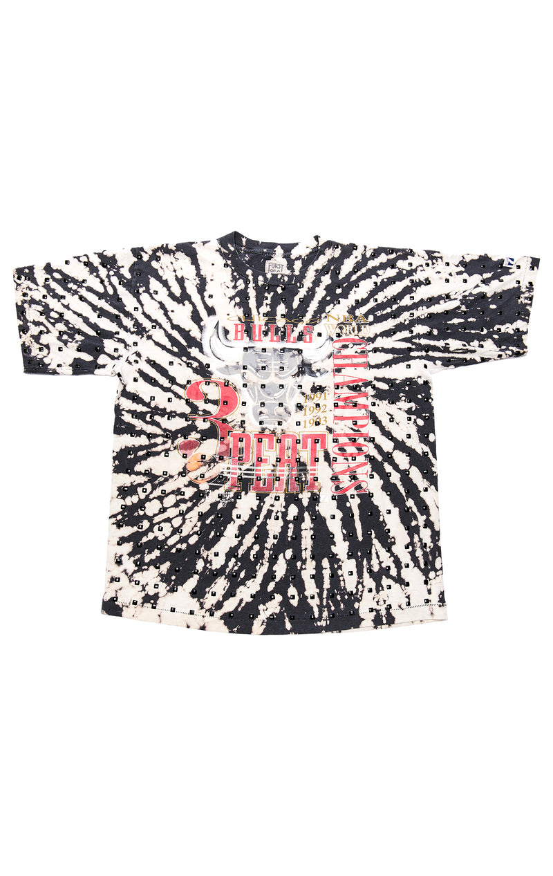 VINTAGE BLEACHED ALLOVER BLACK RHINESTONE T-SHIRT