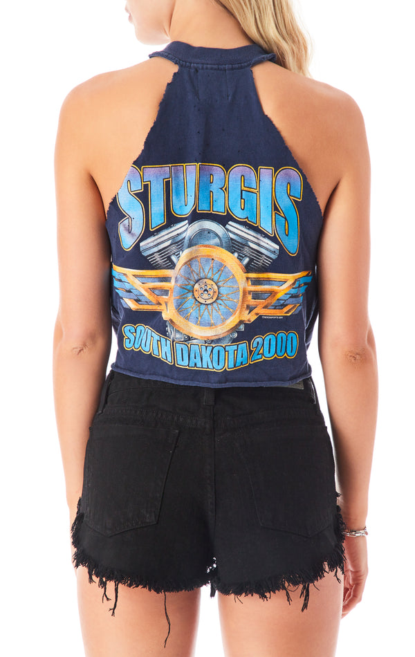 SAFETY PIN CROP CUT OUT TANK