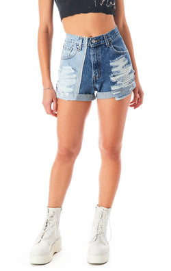VINTAGE SPLICED DENIM SHORT