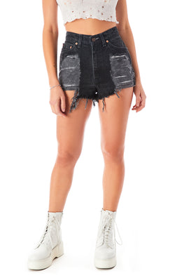 VINTAGE MULTI SHRED DENIM SHORT