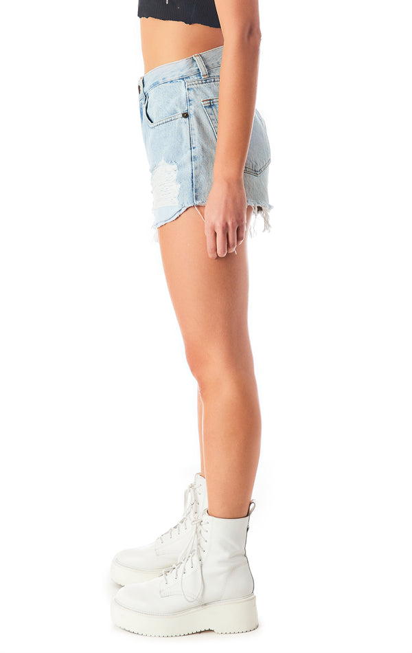 VINTAGE SIDE SHRED DENIM SHORT