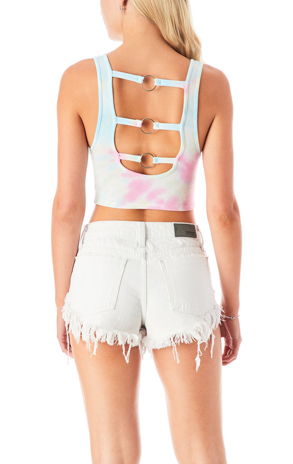 SPIRAL TIE DYE RING BACK TANK TOP