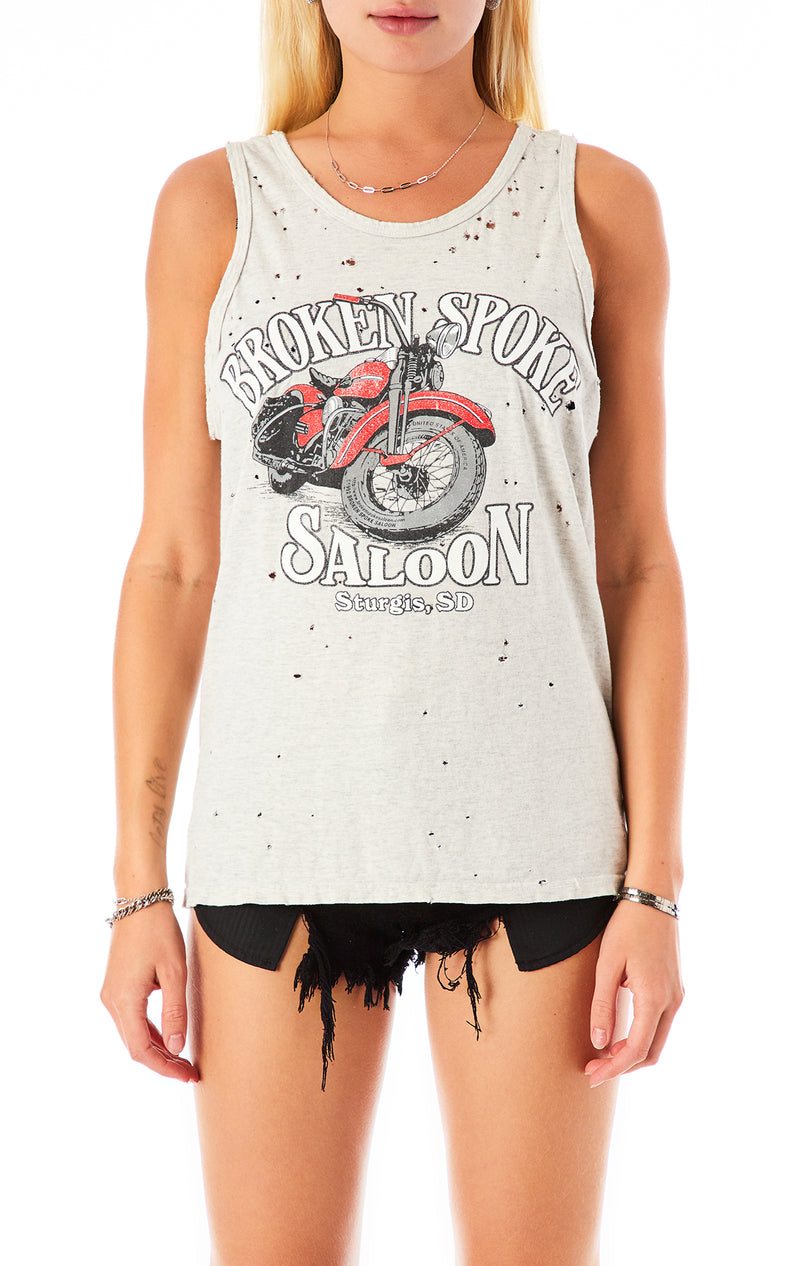 STONEWASHED BIKER TANK TOP