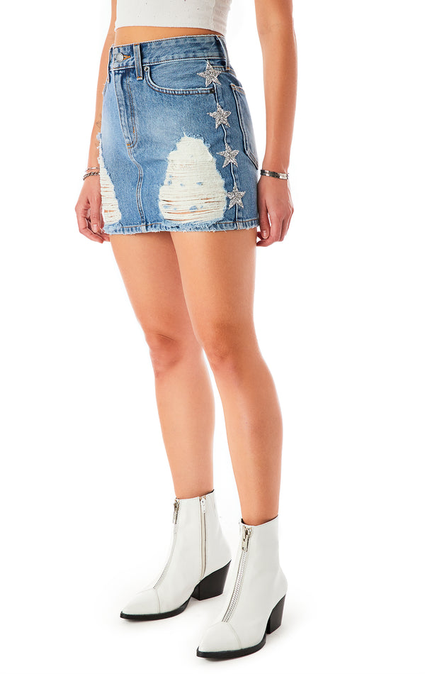 COLIN LYLA STAR PATCH DENIM SKIRT