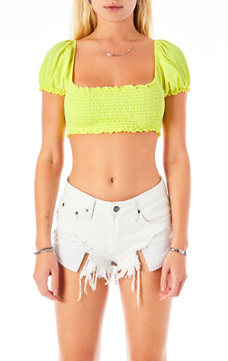 CROP PEASANT SLEEVE SMOCKED T-SHIRT