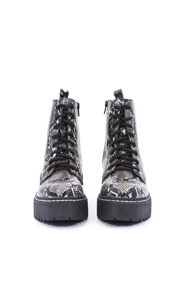 DISTRICT PLATFORM COMBAT BOOT IN SNAKE PRINT