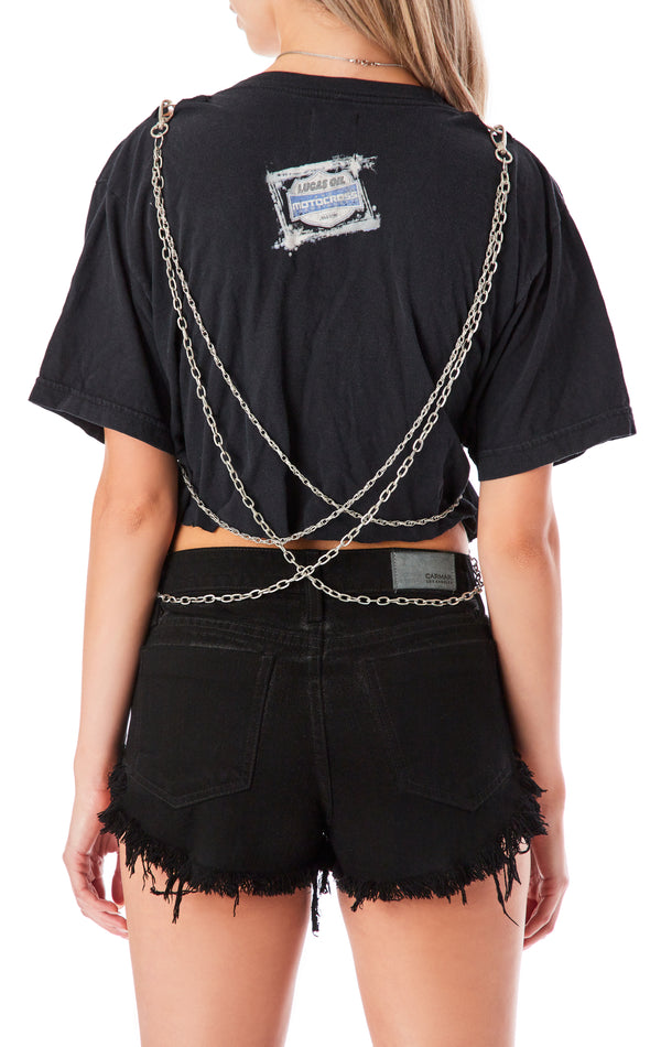 DOUBLE CHAIN CUT OUT CROP T-SHIRT