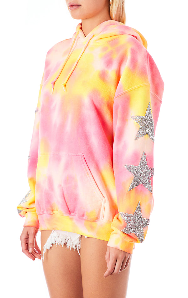 CLOUD TIE DYE STAR PATCH HOODIE