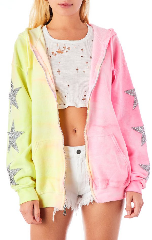 TWO TONE TIE DYE STAR PATCH ZIP UP SWEATSHIRT