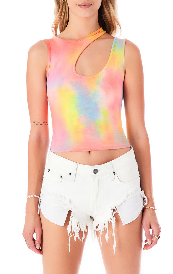 NEON CLOUD TIE DYE CUT OUT TANK TOP