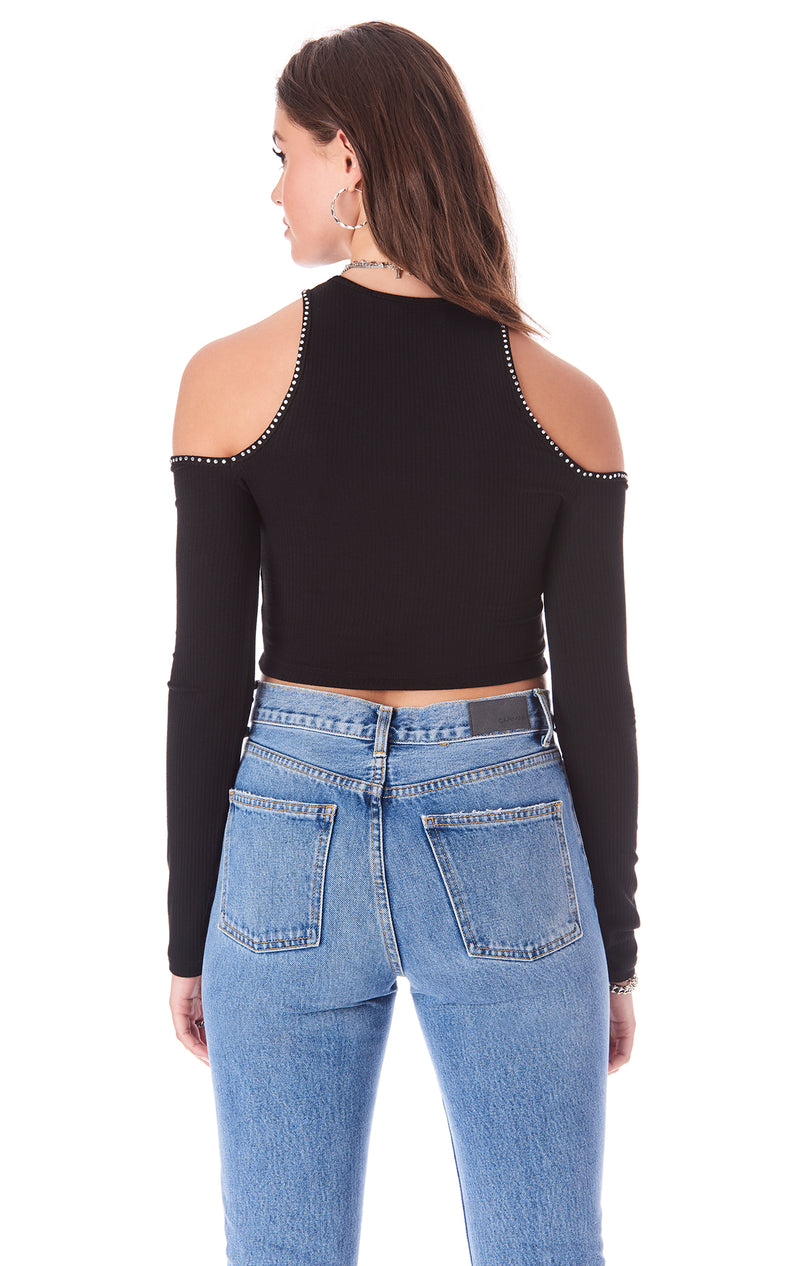 RHINESTONE TRIM CUT OUT LONG SLEEVE TEE