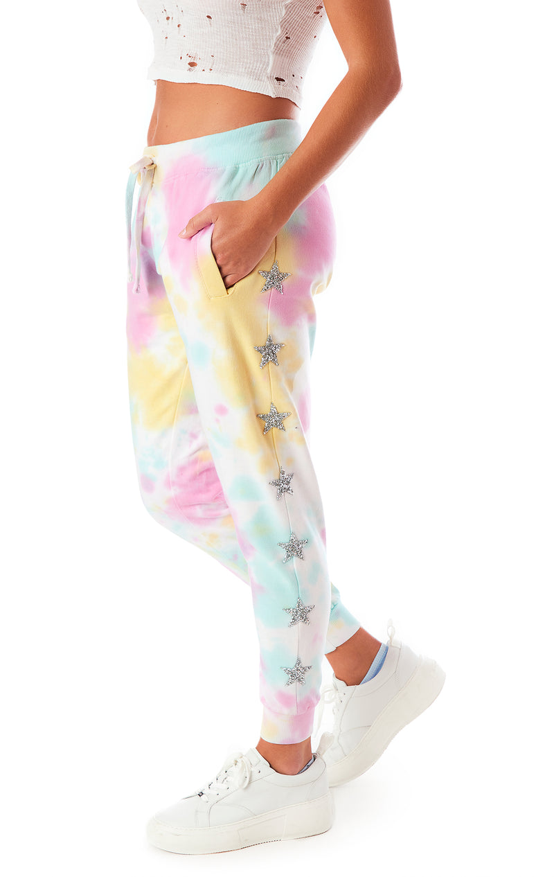 CLOUD TIE DYE STAR PATCH SWEATPANTS