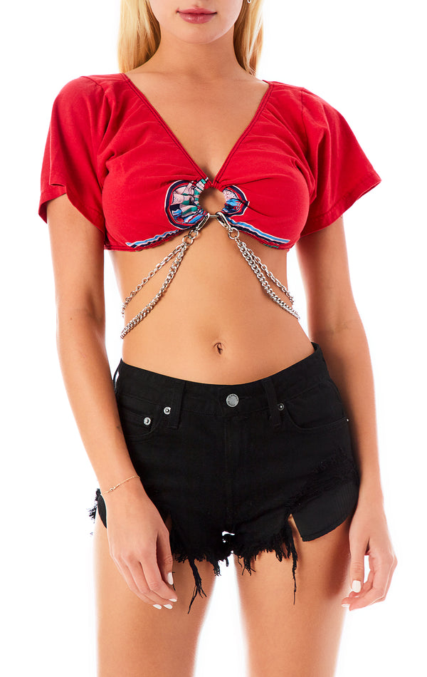 VINTAGE CROP O-RING AND CHAIN T-SHIRT