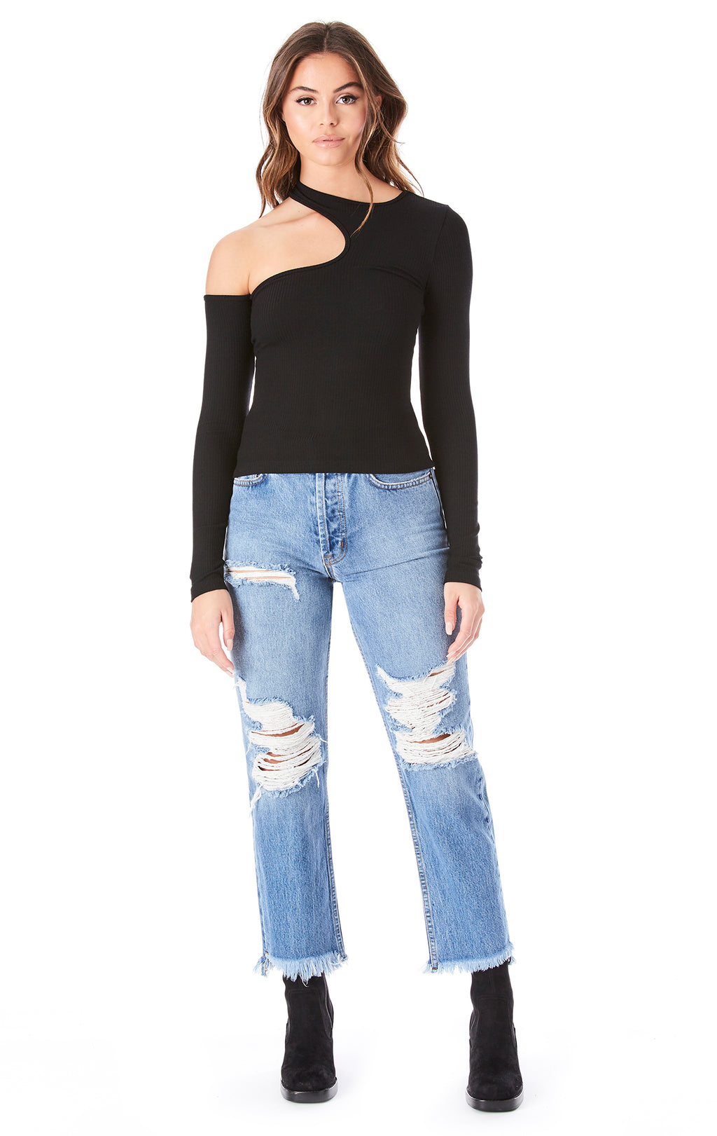 ONE SHOULDER CUT OUT LONG SLEEVE TOP
