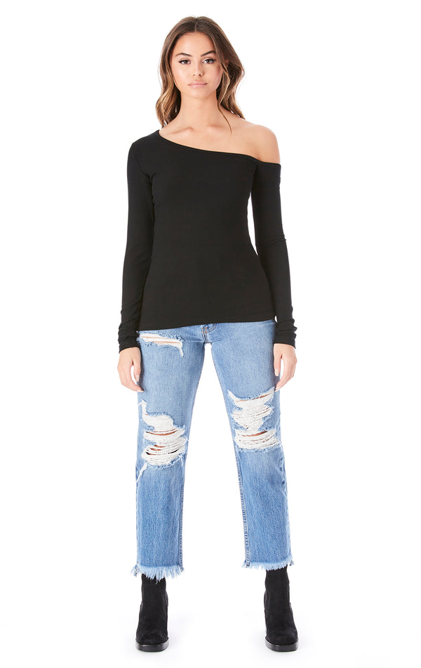 ONE SHOULDER LONG SLEEVE TOP