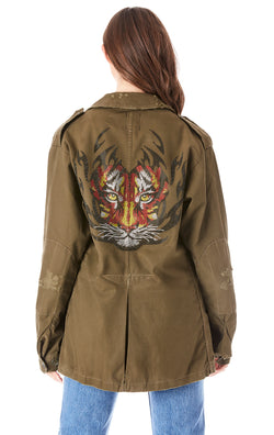 RHINESTONE TIGER ARMY JACKET
