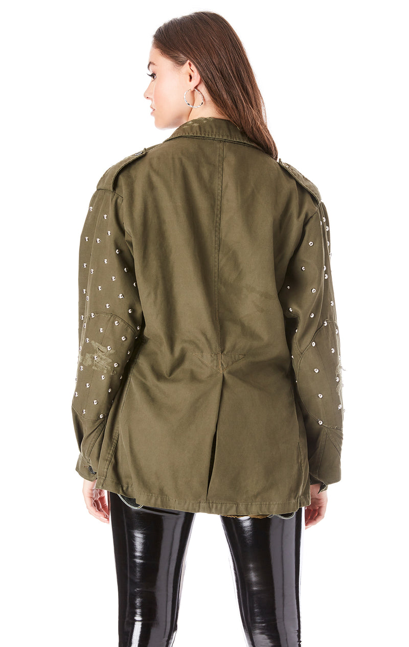 STUDDED SLEEVE ARMY JACKET
