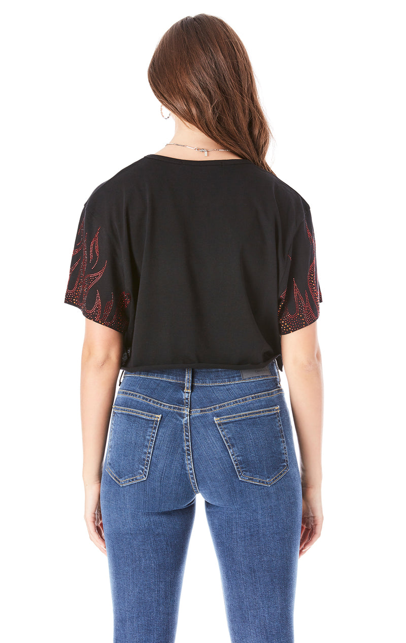 RHINESTONE FLAME CROP T-SHIRT