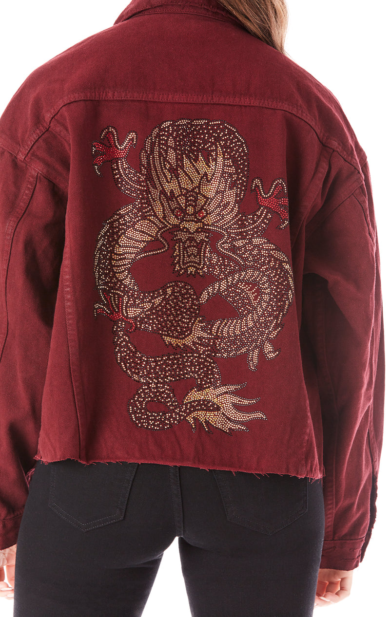 AUDREY RHINESTONE DRAGON DENIM JACKET