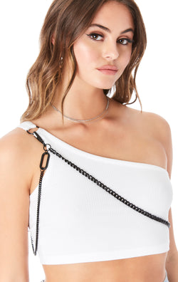 ONE SHOULDER CHAIN TANK TOP