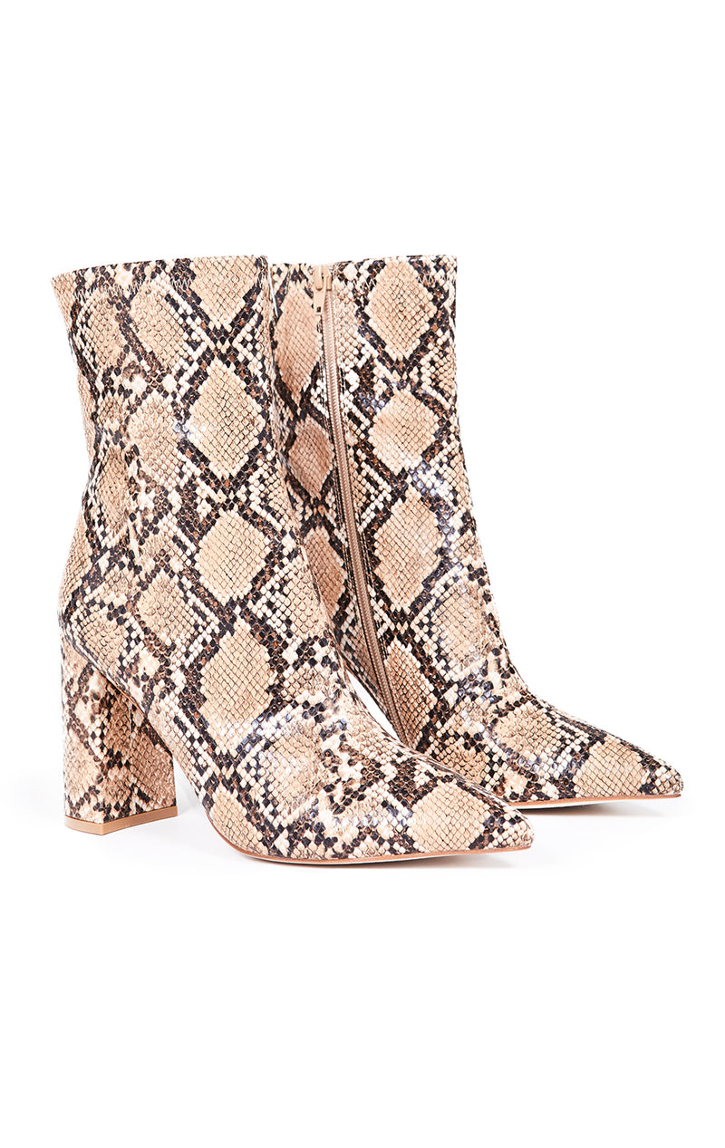 SIREN-3 SNAKE POINTED TOE ANKLE BOOT