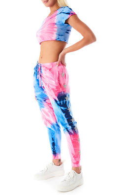 LARGE SPIRAL TIE DYE STAR PATCH SWEATPANTS