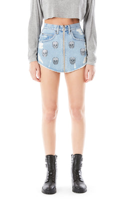 BEATRICE SKULL PATCH ZIP FRONT SKIRT