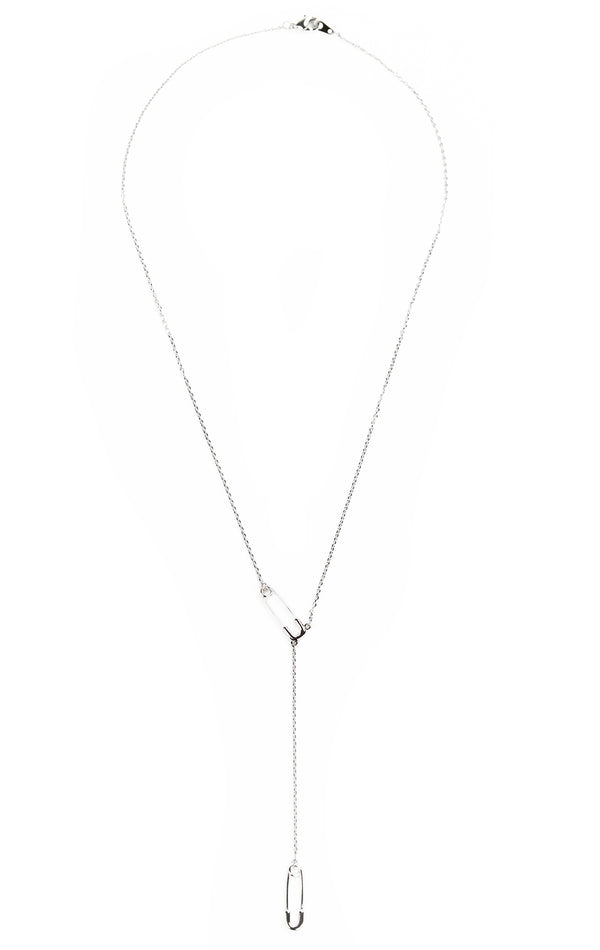 DOUBLE PIN LARIAT NECKLACE