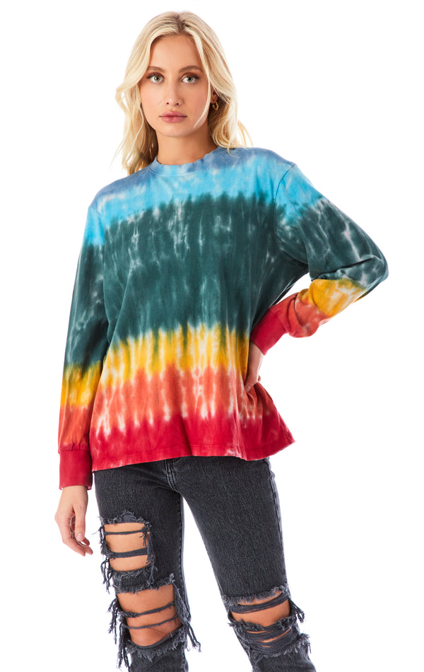 HORIZONTAL TIE DYE LONG SLEEVE T-SHIRT