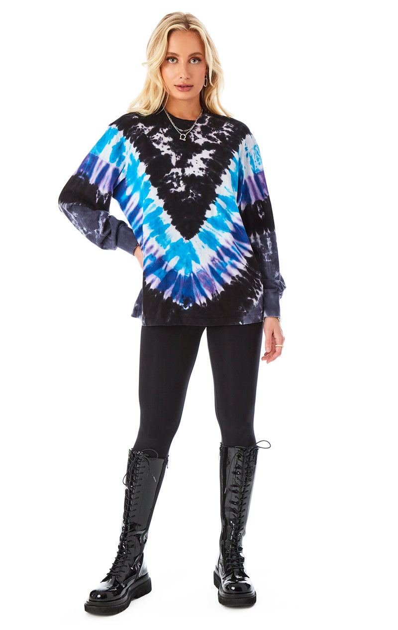 CHEVRON TIE DYE LONG SLEEVE T-SHIRT