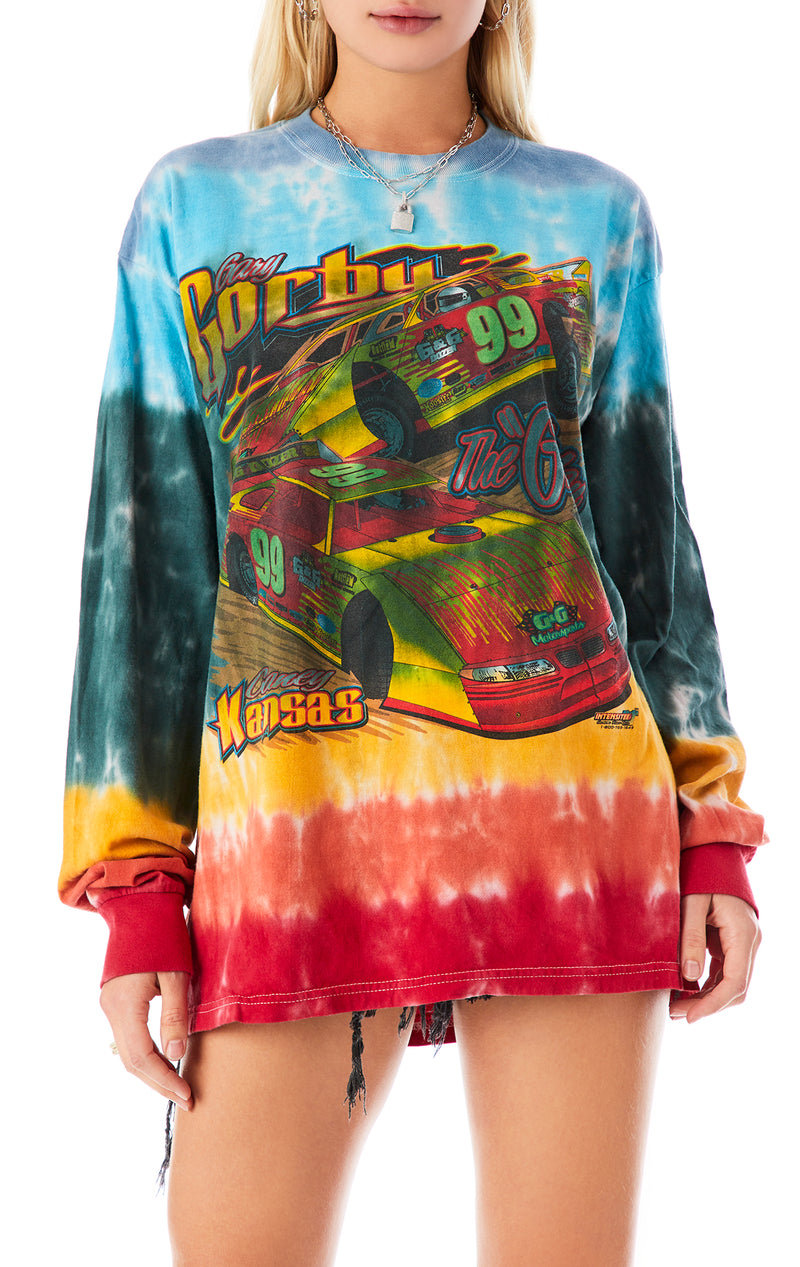 VINTAGE HORIZONTAL TIE DYE LONG SLEEVE T-SHIRT
