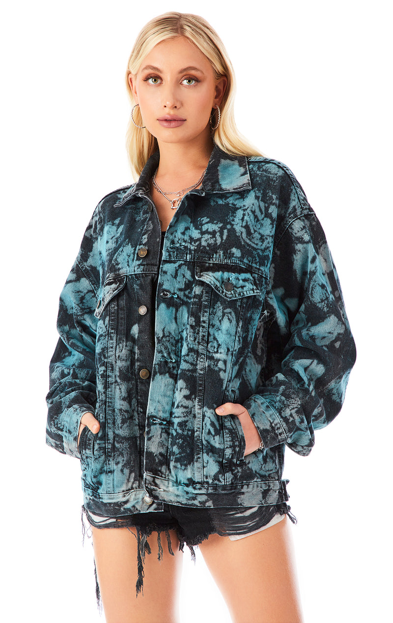 BLEACH CLOUD TIE DYE DENIM JACKET