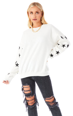 BLACK STAR PATCH CLUSTER PULLOVER SWEATSHIRT