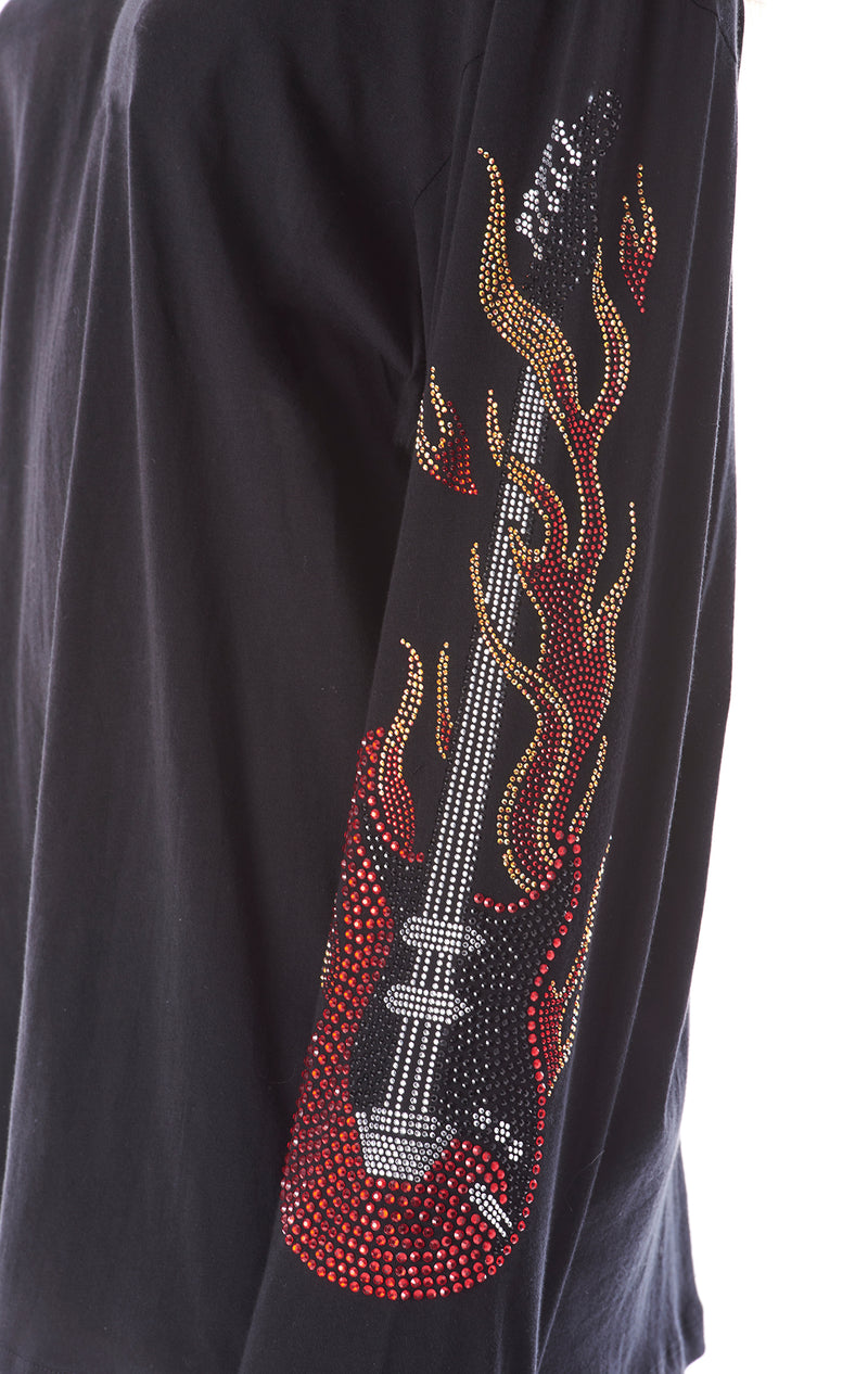 FLAME GUITAR RHINESTONE LONG SLEEVE T-SHIRT