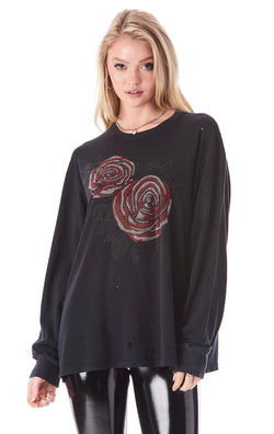 ROSE RHINESTONE LONG SLEEVE T-SHIRT