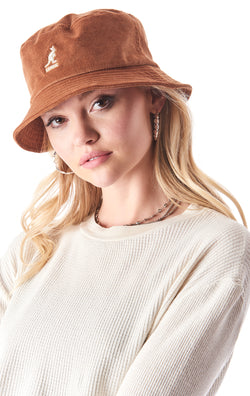 CORD BUCKET HAT WITH KANGOL LOGO