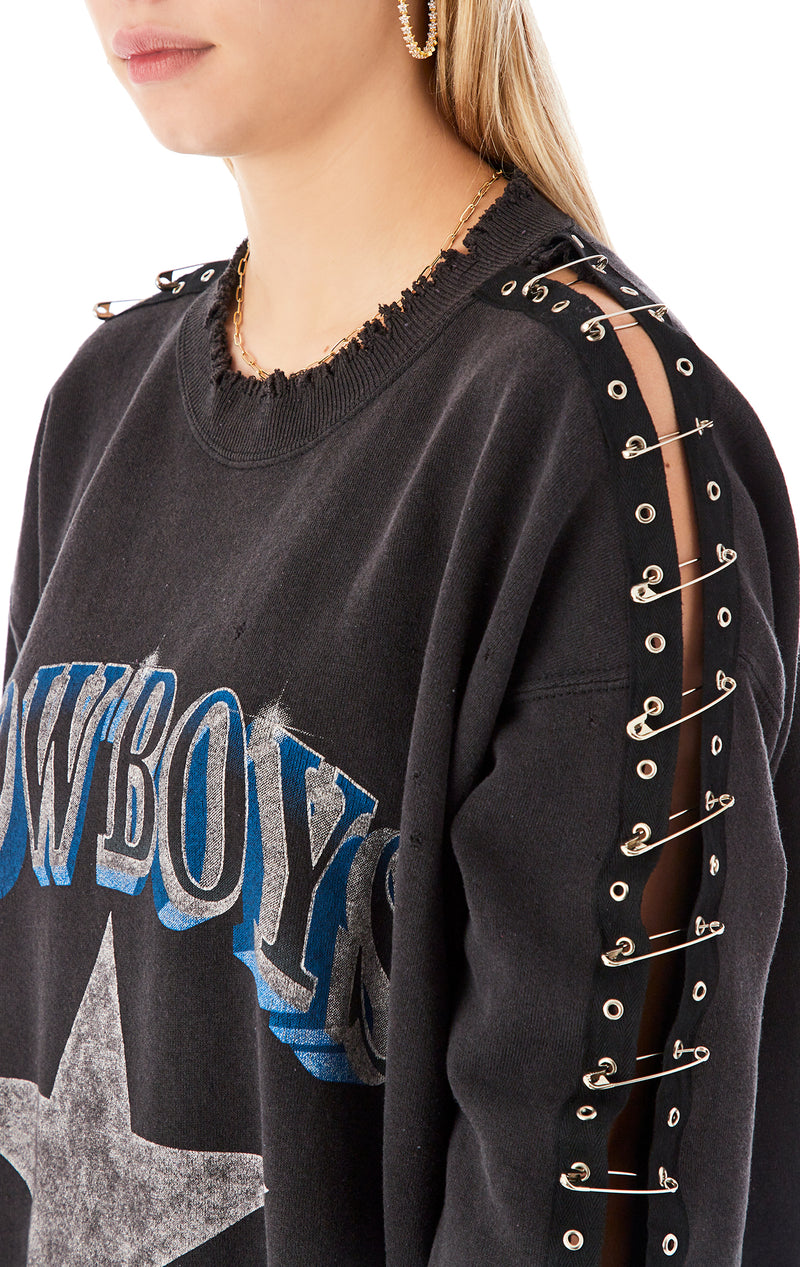 VINTAGE SAFETY PIN SLEEVE SWEATSHIRT
