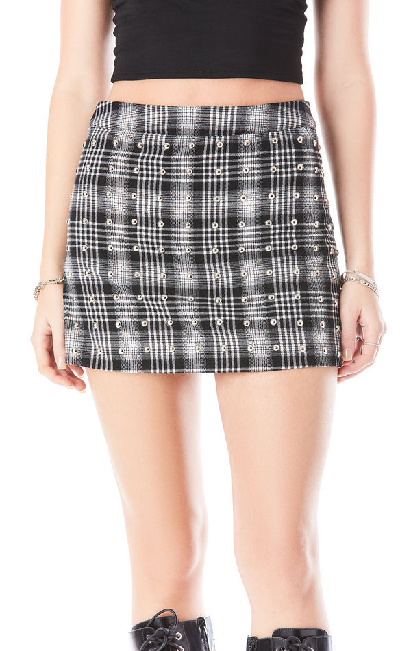 ALLOVER STUD PLAID SKIRT