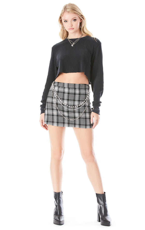 PLAID SKIRT WITH PEARL CHAIN