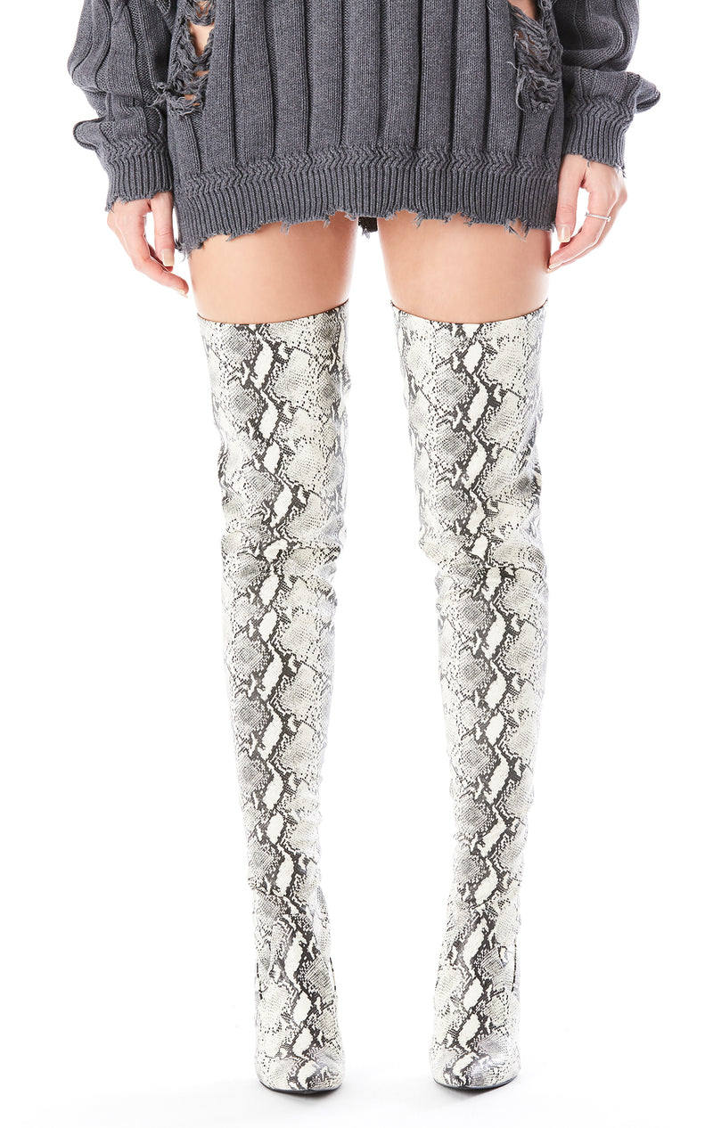 DOMAIN OVER THE KNEE HIGH HEEL SNAKE BOOT