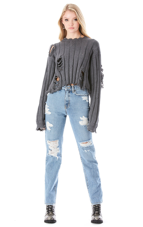 VINTAGE DISTRESSED CROP SWEATER