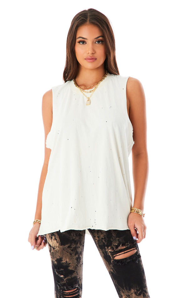 STONEWASHED SLEEVELESS BOYFRIEND T-SHIRT