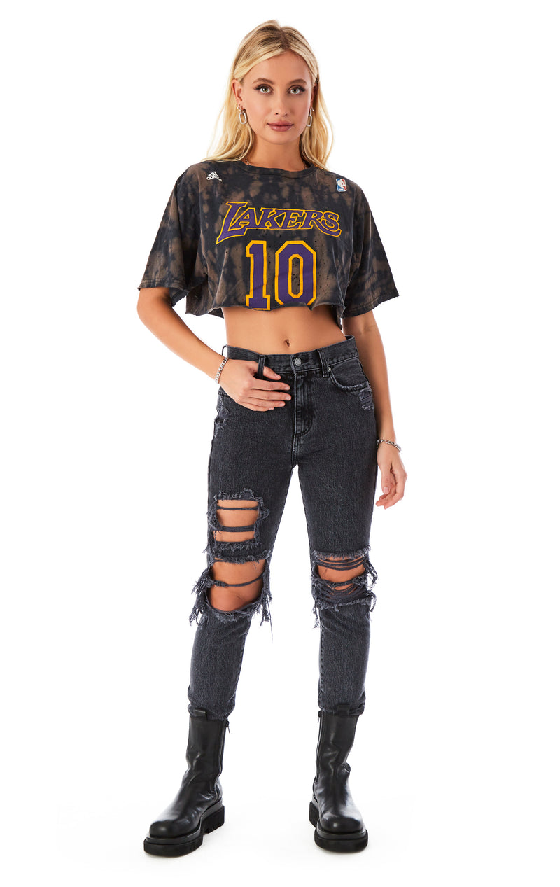 VINTAGE CROP VERTICAL BLEACH T-SHIRT